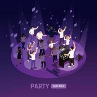 festa de DJ com fundo isométrico vetor