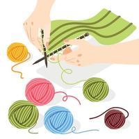 conceito isométrico de tricô vetor
