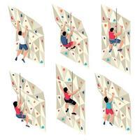 conjunto de paredes de escalada isométrica vetor