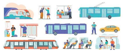 conjunto plano de transporte público vetor
