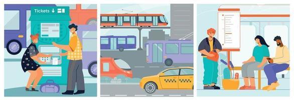 transporte composições quadradas planas vetor
