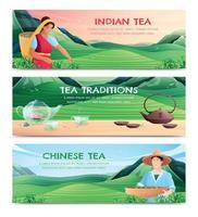 banners horizontais de produção de chá natural vetor