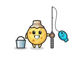personagem mascote do queijo redondo como pescador vetor