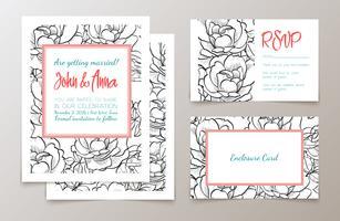Um conjunto de material de escritório para casamentos convite, vetor