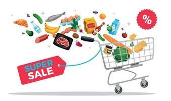 composição da cesta de super venda vetor