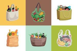 conceito de design de sacolas de compras vetor