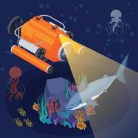 composição isométrica de máquinas e equipamentos de veículos subaquáticos vetor