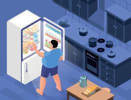 geladeira noite fome composição vetor