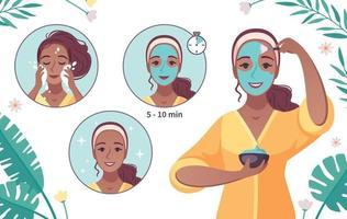desenho de aplicação de máscara para cuidados com a pele vetor