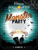 Vector a ilustração de Halloween em um tema de festa monstro com lua e morcegos.