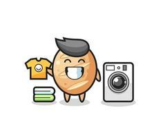 desenho de mascote de pão francês com máquina de lavar vetor