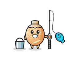 personagem mascote do pão francês como pescador vetor
