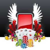 Vector a ilustração em um tema do casino com os cartões de jogo e as microplaquetas de pôquer.
