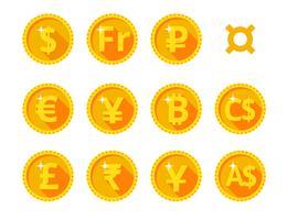 Ícones de ouro da moeda do mundo vetor