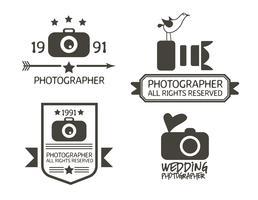 Emblemas de fotografia e rótulos em estilo Vintage vetor