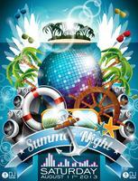 Vector verão praia festa Flyer Design com bola de discoteca e elementos de transporte
