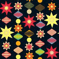 Decorações de Natal retrô, padrão sem emenda