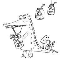 Crocodilo de desenhos animados e beber pássaros