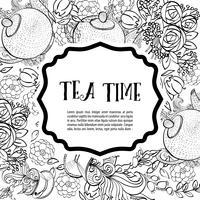Hora de tomar chá. O cartão de moda monocromático quadrado