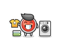 desenho do mascote do botão de pânico de emergência com máquina de lavar vetor