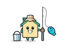 personagem mascote da casa como pescador vetor