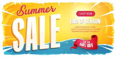 Banner largo de venda de verão vetor