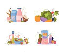 conjunto de composições de comida vegana vetor