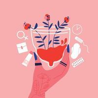 composição das flores da tampa menstrual vetor