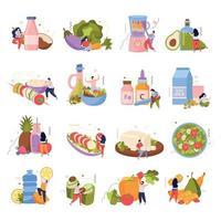 coleção de ícones de comida vegana vetor