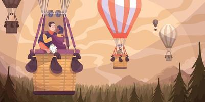 casal romântico balão composição plana vetor