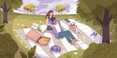 casal romântico natureza plana composição vetor