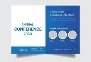 modelo de conferência de panfleto azul corporativo vetor