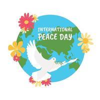 dia da Paz. pôster para o dia da paz com pomba e flores vetor