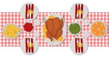 mesa de ação de Graças jantar festivo do peru. vista de cima mesa servida vetor