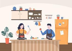sala de cozinha com ilustração vetorial de fundo de móveis vetor