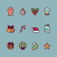 conjunto de ícone fofo de natal vetor