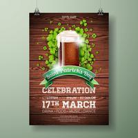 Ilustração de panfleto de festa de dia de Saint Patrick com cerveja escura fresca e trevo vetor