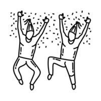 ícone de festa de salto. doodle desenhado à mão ou estilo de ícone de contorno vetor
