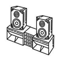 ícone do sistema de som. doodle desenhado à mão ou estilo de ícone de contorno vetor