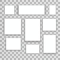 tela de papel realista ou molduras de fotos isoladas em vetor