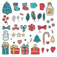 elemento de conjunto de inverno de Natal. design fofo vetor