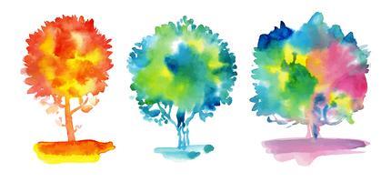Conjunto de árvores em aquarela.