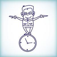 empresário dos desenhos animados, gestão do tempo vetor