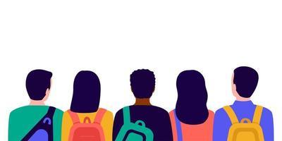 grupo de alunos com mochilas na escola, vista traseira vetor