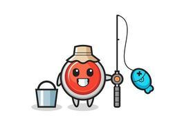 personagem mascote do botão de pânico de emergência como um pescador vetor
