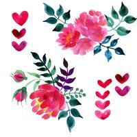 Conjunto de lindas flores em aquarela vetor