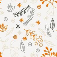 Retrô mão desenhada inverno feriados padrões sem emenda