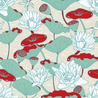 Lírios de água elegantes, Nymphaea sem costura padrão floral vetor