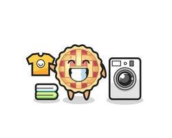 desenho de mascote de torta de maçã com máquina de lavar vetor