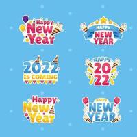 conjunto de adesivos de ano novo vetor